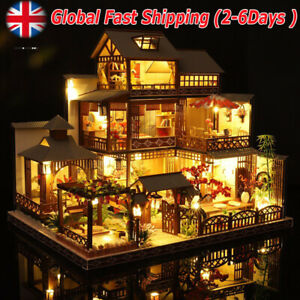 ✅Japanese Villa Dollhouse DIY Doll House Miniature Furniture LED Light Kits NEW