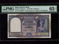India:P-24,10 Rupees,1943 * King George VI * PMG Gem UNC 65 EPQ *