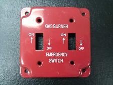 """4"""" Red Emergency Gas Burner Electrical Box Cover 2 Gang Toggle Switch NEW"""