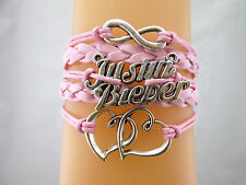 Mix Justin Bieber Double Hearts Infinity Charms Leather Braided Bracelet Pink