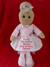 """PERSONALISED RAG DOLL TO BIG / LITTLE SISTER NEW BABY 16"""" BALLERINA GIFT"""