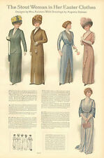 Ladies' Fashions, The Stout Woman In Her Easter Clothes, 1912 Antique Art Print,