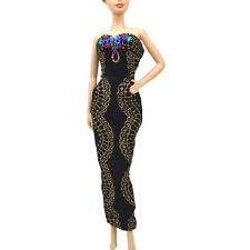 Barbie Fashion Aderente Nero Velluto Abito Dettaglio In Oro Lustrini MIDNIGHT GALA Nuovo