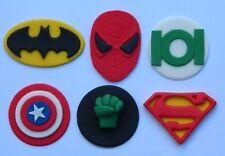 6 edible SUPER HERO INSPIRED cake topper CUPCAKE DECORATIONS batman superman