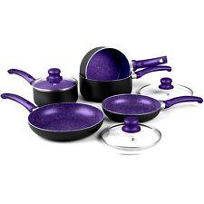 RUSSELL HOBBS 8 PIECE NON STICK INDUCTION STONE PAN SET SAUCEPAN FRYING PAN POT