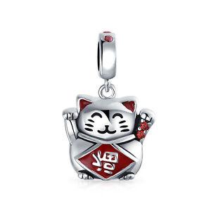 Japanese Maneki Neko Cat Good tune Dangle Charm Bead Sterling Silver