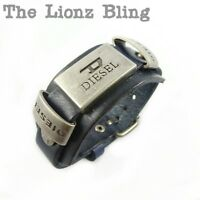 Urban Vintage style DIESEL Men's Genuine Black Leather Wide Band Bracelet