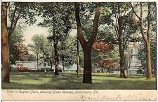 View in Capitol Park Showing Green Houses in Harrisburg PA Postcard 1907