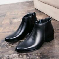 Men's British Chelsea Casual Ankle Boots Soft Leather Zip Heels Pointy Toe Shoes