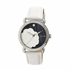 Bertha Daphne Crystal Accented black/white flower MOP WHITE Leather Watch