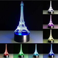 Color Changing Eiffel Tower LED Night Light Table Desk Wedding Bedroom Lamp Gift