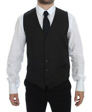 NWT DOLCE & GABBANA Black Striped Wool Single Breasted Vest IT48 / US38 / M