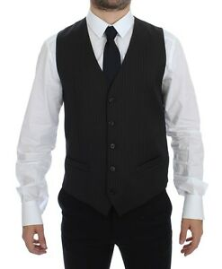 DOLCE & GABBANA Black Striped Wool Single Breasted Vest IT48 / US38 / M