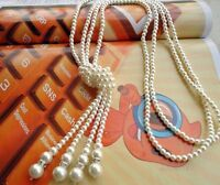 Women's Statement Gold Silver Pearl Long Pendant Chain Choker Necklace Jewelry