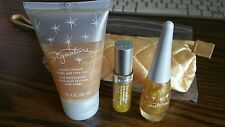 Mary Kay GOLD GLIMMER SET LIP GLOSS, TOP COAT & FACE BODY GEL plus COSMETIC BAG