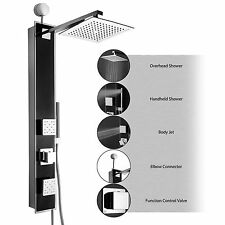 "35"" Shower Panel Tower Handheld Shower Head Wand Body Spray Black Y-JX-9006"