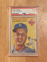 PSA 3 VG 1954 Topps #132 Brooklyn Dodgers Tom Tommy Lasorda Rookie Card CENTERED