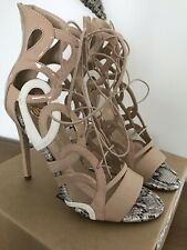 Ladies Light Pink River Island Taylor Strap High Heeled Shoes - Size 8UK 41 NEW