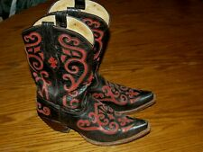 WOMENS~TONY LAMA~SQUARE TOE~Cowboy Western~Leather~Boots~9.5 B~INLAY~BLACK RED