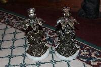 Vintage Cast Metal Cherub Angel Candlestick Holders Pair Marble Base