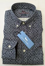 "Harmont & Blaine  LARGE  Chest 45""  Navy Spot REG FIT Long Sleeve Shirt RRP £199"