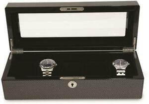Lacquered Grey Carbon Fiber 5 Watch Case w/ Glass Top & Lock