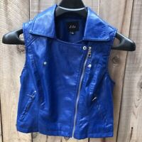 Dots Womens Vest Blue Asymmetric Zip Lined Collared Pockets Faux Leather L