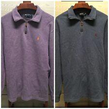 Lot of 2 Polo Ralph Lauren Men's Pullover Sweater 2XL XXL Cotton 1/4 Zip Pony