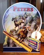 Repro Peters Ammunition with Rams Standing Advertising Die Cut
