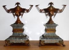 Vtg Early 1900's French Bronze & Marble Garnitures Antique Urn Mantel Garnitures