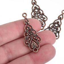 10 Copper Leaf Filigree Charm Pendants, 41mm long, chs4033