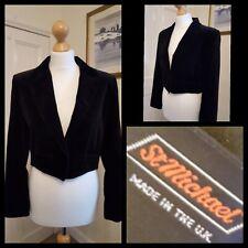 Vintage St Michael Black Velvet Waist Jacket Blazer Size 12