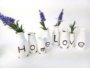 Kitchen Vase White distressed Milk Bottle design set 4 ceramic choice of style