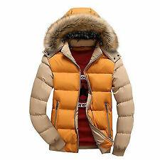 Men's Jacket Cotton Coat Thicken Outwear Parka Hooded Fur Collar yellow #11