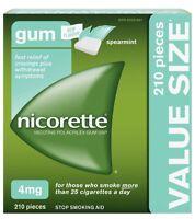 Nicorette 4mg Gum Quit Smoking Aid 210 Pieces Spearmint EXP 04/2022