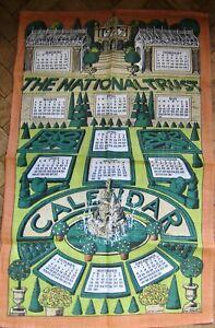 1987 CALENDAR Tea Towel PAT ALBECK  NATIONAL TRUST LINEN Topiary Collectible