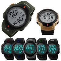 Mens Sport Watch Multifunctional Military Waterproof Big Numbers Digital LED