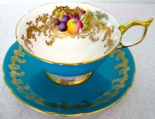 Aynsley Fancy Orchard Fruit Turquoise Rich Gold 2684 Bone China Cup & Saucer