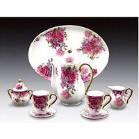 Miniature Porcelain 10-pc Tea Set with Pink Rose Pattern