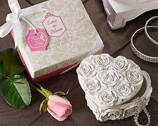 96 Love In Bloom Heart Shaped Floral Design Trinket Boxes Wedding Favors