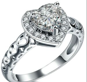 Stainless Steel His Hers Heart CZ Wedding Engagement Bridal 3 PC Ring Band Set