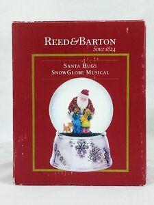 2009 Reed & Barton Santa Hugs Musical Snow Globe Animated Silver Base NIB