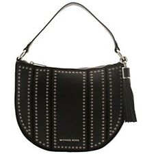NWT $398 MICHAEL KORS Large Leather Mini Grommets Shoulder Bag Purse Black