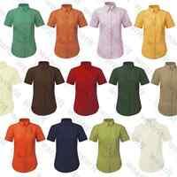 Ladies Short Sleeve Blouse Shirt Business Work Wear Formal Smart Suit Casual