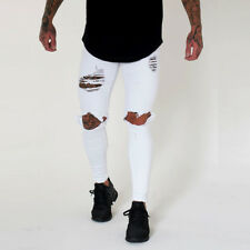 US Slim Destroyed Stretchy Ripped Skinny Biker Jeans Men Taped Fit Denim Pants Y