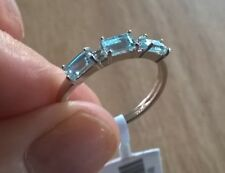 AQUAMARINE & DIAMOND SILVER RING 0.80 CWT EARTH MINED HALLMARKED GENUINE STONES