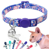 Cat Breakaway Collar with Name Tag Personalised Anti-lost & Quick Release Buckle
