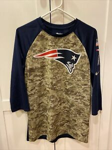 Nike New England Patriots Camo Military Baseball Shirt Medium