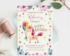 Unicorn Party Invitation Girl Birthday Invite Personalised Floral Happy Birthday