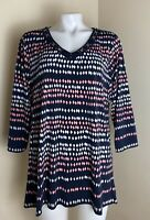 JM Collection 0X Women's Tunic Top Polyester 3/4 Sleeve Blue Pink V-neck Stretch